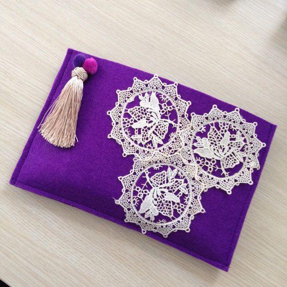 Lace Clutch, Felt Ethnic Handbag, Boho bag, Bohemian Clutch, Bridemaids clutch, clutch purse, valentines gift