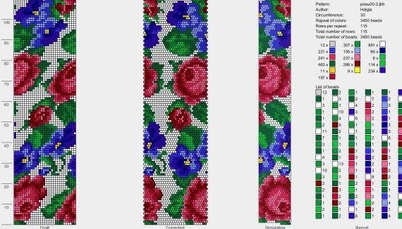 """Схема для жгута """"Розы и фиалки"""" / Схемы / Бусинка"""