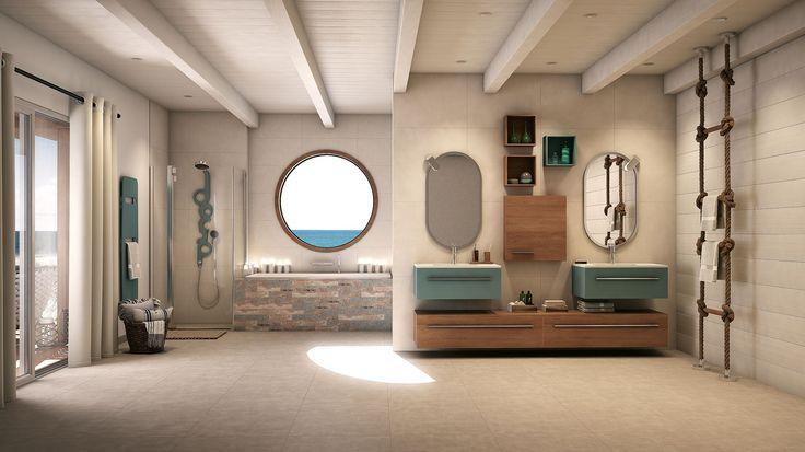 Les notes bleutées de cette salle de bain se retrouvent par touche sur les façades du meuble, la colonne de douche et les accessoires. On se laisse surpendre par le receveur de douche façon bois flotté ou bien par le tablier de baignoire imitation vieilles planches de bord de mer. Le radiateur sèche-serviettes fait illusion de planche de surf.