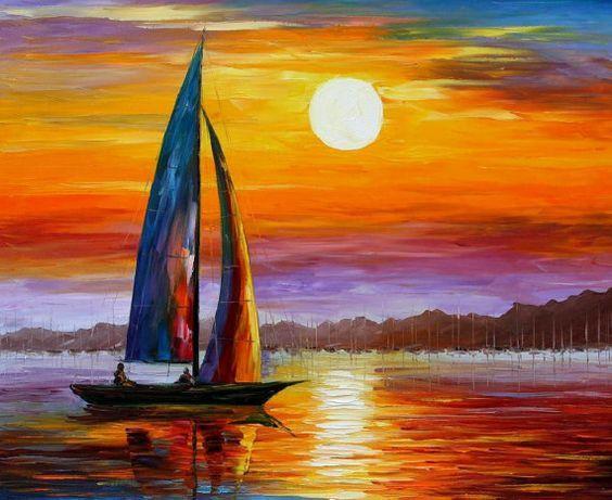 """Lumière du matin — Palette couteau océan voilier Salon décor peinture à l'huile sur toile par Leonid Afremov. Taille 30 """"X 24"""" pouces (75 cm x 60 cm)"""