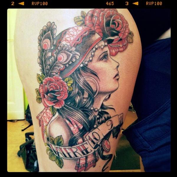 gypsy girl tattoo by ~mojoncio art