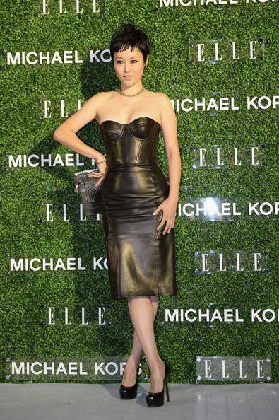Rinko Kikuchi in beautiful Leather Dress