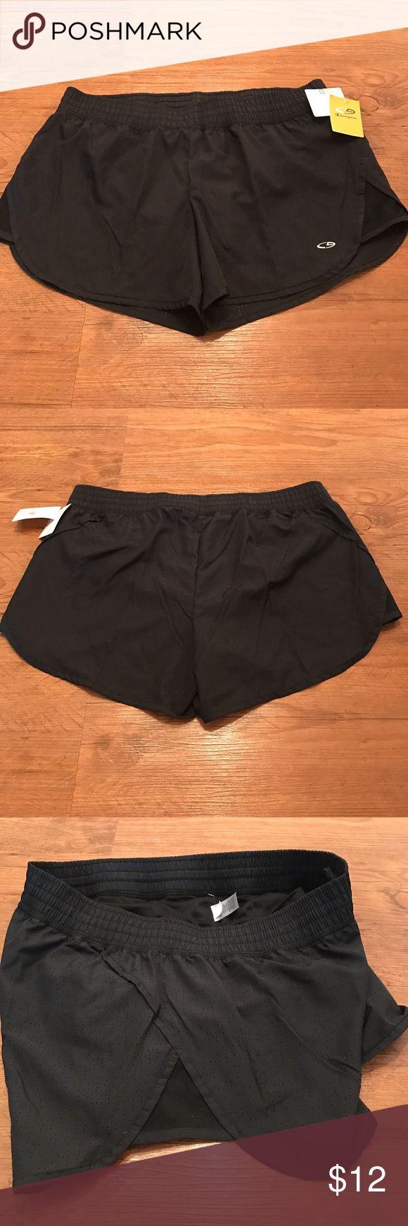 "Champion Duo Dry Black Running Shorts Size L Champion Duo Dry black running shorts NEW With Tags, 17"" across waist, 13"" Rise Champion Shorts"