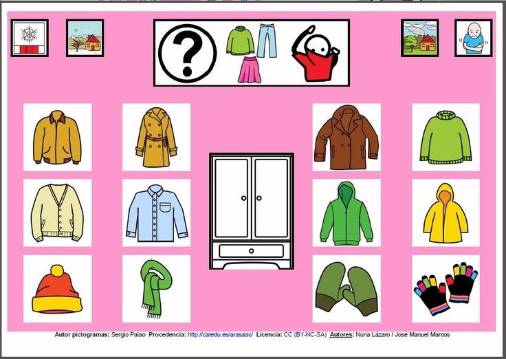 MATERIALES - Tableros de Comunicación de 12 casillas.    Tablero de comunicación de doce casillas sobre ropa para el frío.    http://arasaac.org/materiales.php?id_material=224