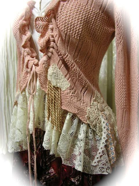 Upcycled Pink Sweater soft ruffled lace and gathering by Dede