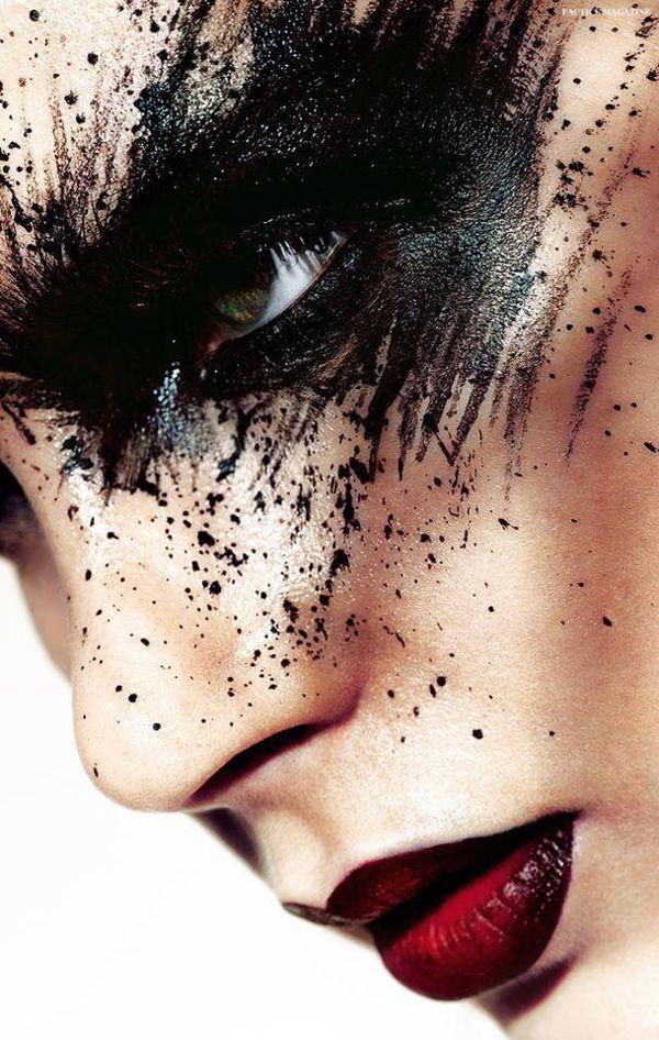 Splattered Matte Black Eyeshadow, and Crimson  Black Lips. Editorial Makeup, by Chris Schild.