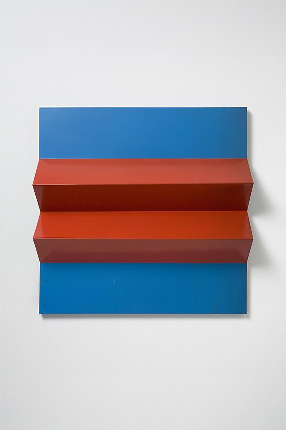 Charlotte PosenenskeFaltung (Fold), 1966RAL red and blue spray paint on folded sheet aluminum29 1/2 x 29 1/2 x 5 1/2 inche...