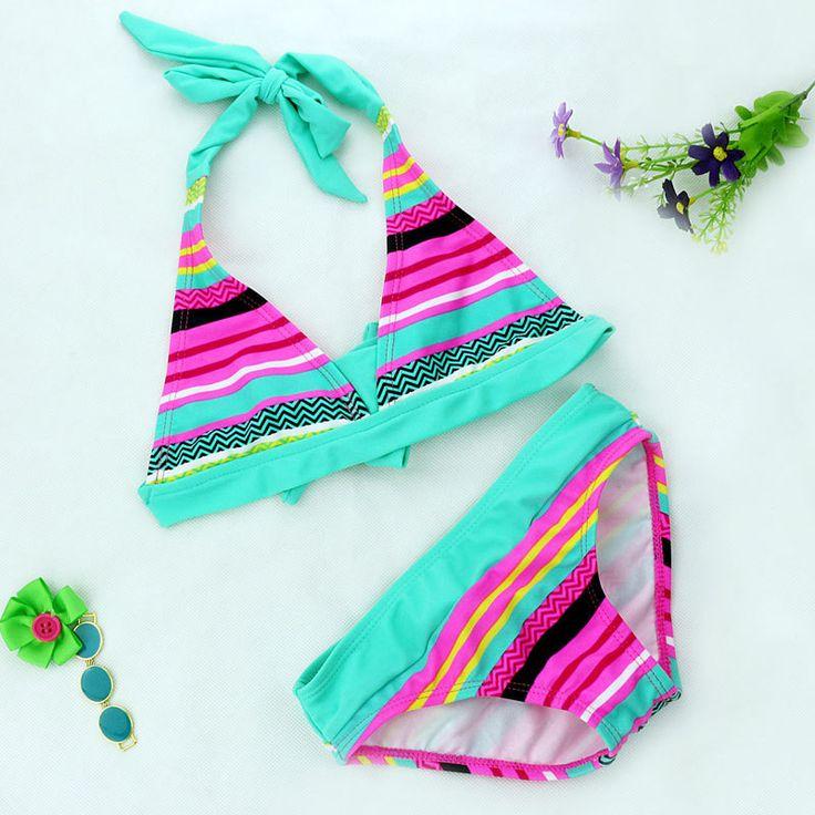 2016 Nuevas muchachas Del Verano Ajustada elástica raya muchachas del traje de baño dividido en Dos piezas Traje de Baño, los niños de la raya al por mayor bikini