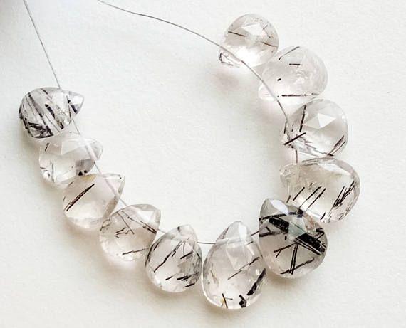 10 Pcs Rutile Quartz Beads Black Needles Rutile Briolettes