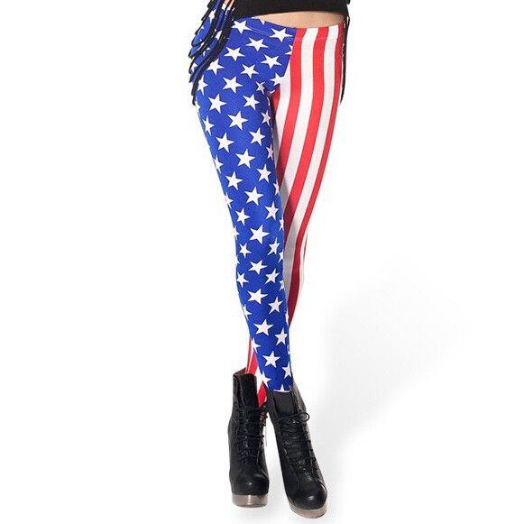 3D Sky Digital printing American flag stars stripes sexy leggings