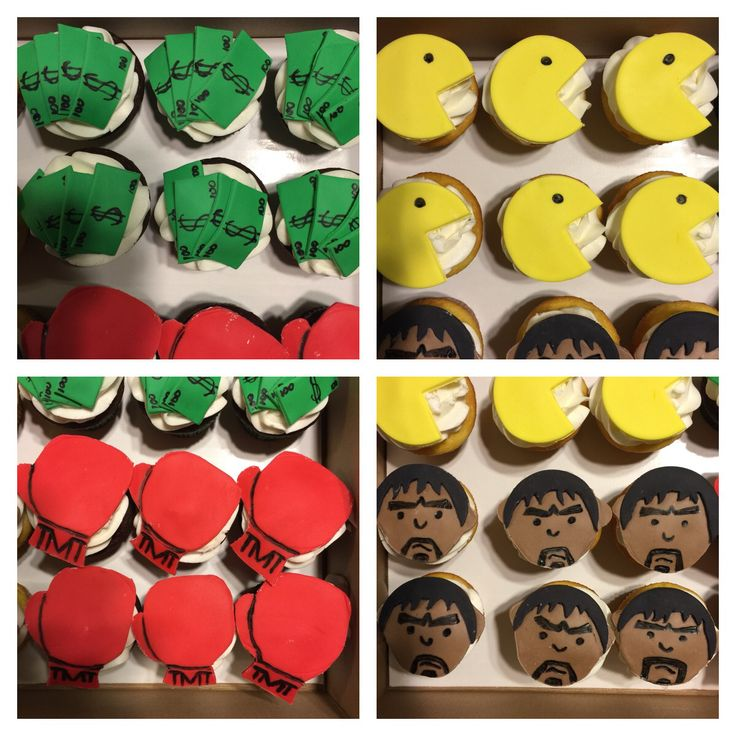 Fight night cupcakes! #cake #buttercream #frosting #fondant #cupcakes #mayweather #pacquiao #boxing #maypac #championship #fight #wbc #wbo #ibf #undisputed #history #moneyteam #tmt #moneymayweather #pacman #showtime #hbo #instacake #cakeart #thebakerman #cakesandthings
