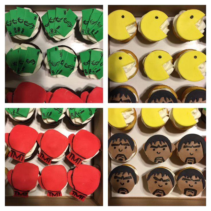 Fight night cupcakes! #cake #buttercream #frosting #fondant #cupcakes #mayweather #pacquiao #boxing #maypac #championship #fight #wbc #wbo #ibf #undisputed #history #moneyteam #tmt #moneymayweather #pacman #showtime #hbo #instacake #cakeart #thebakerman #cakesandthings