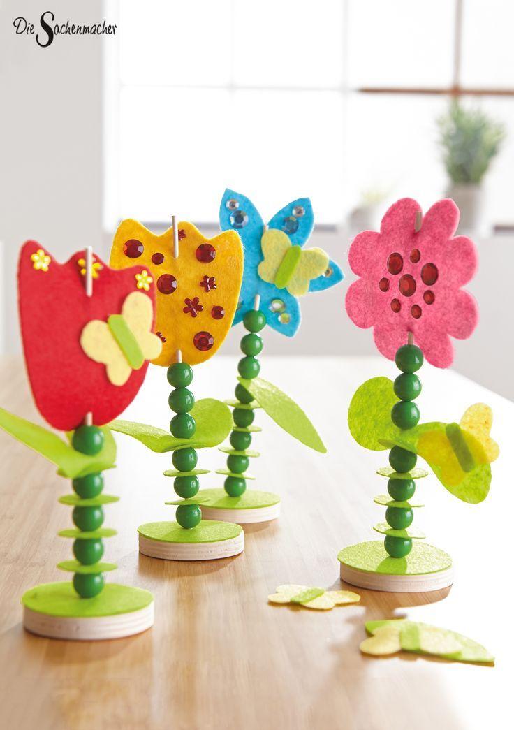 #Filzstecker #Blumen zum #Fädeln und #Verzieren. #Holz #bast