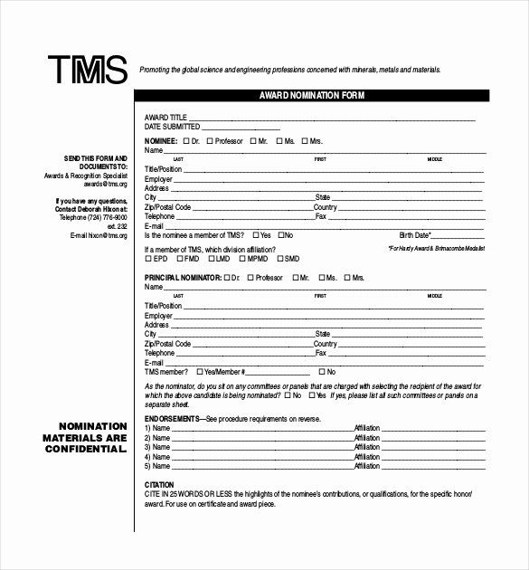 Employee Recognition Nomination Form Template New Award Nomination