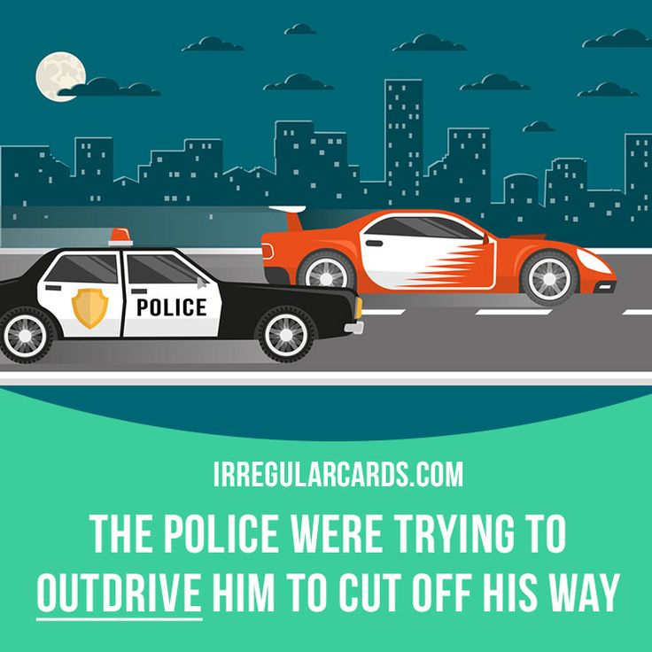 """Outdrive"" means ""to drive a vehicle better or faster than someone else"". Example: The police were trying to outdrive him to cut off his way. Learning English can be fun!   Visit our website: learzing.com #irregularverbs #englishverbs #verbs #english #englishlanguage #learnenglish #studyenglish #language #vocabulary #dictionary #efl #esl #tesl #tefl #toefl #ielts #toeic #easyenglish #funenglish #outdrive #outdriving #driving"