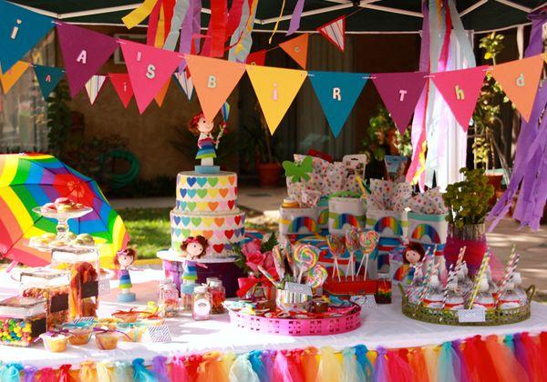 Rainbows colors birthday party ideas colores - Manteles infantiles para cumpleanos ...