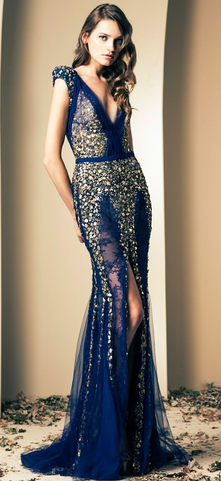 Blue + gold long dress.