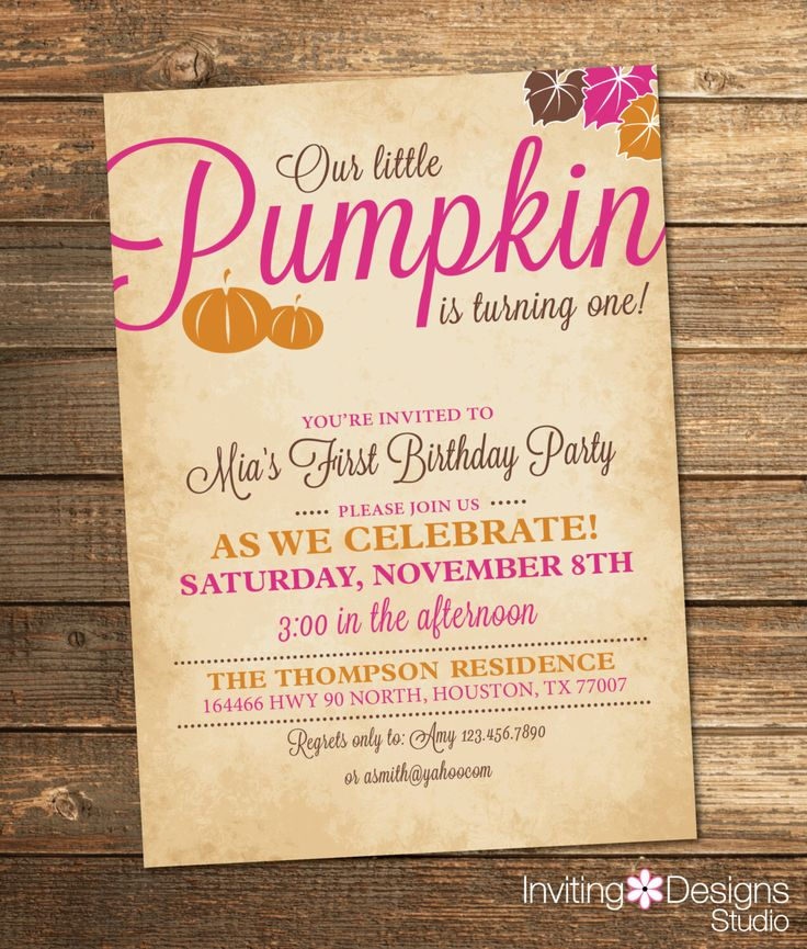wording ideas forst birthday party invitation%0A Pumpkin Birthday Invitation  Fall Birthday Party  Pumpkin Birthday  Girl First  Birthday  Pink