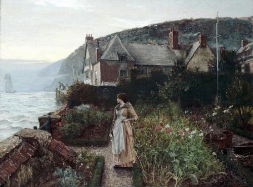 "labellefilleart: "" The Silent Adieu, Charles Napier Hemy "" oh gosh i wish i had a garden like this!"