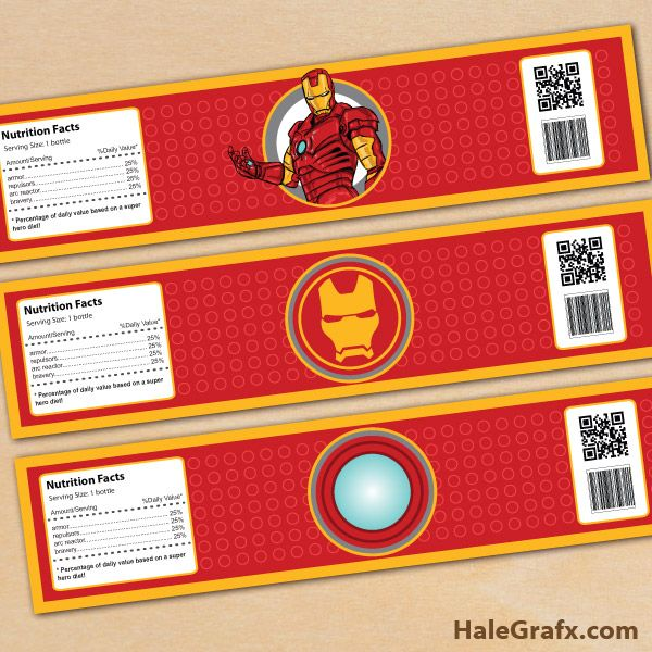 FREE Printable Iron Man Water Bottle Labels