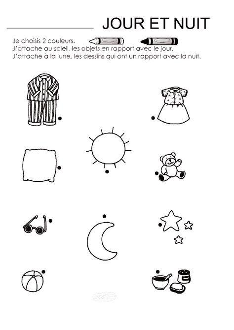 Coloriage Jour Nuit à colorier - Dessin à imprimer (avec ...