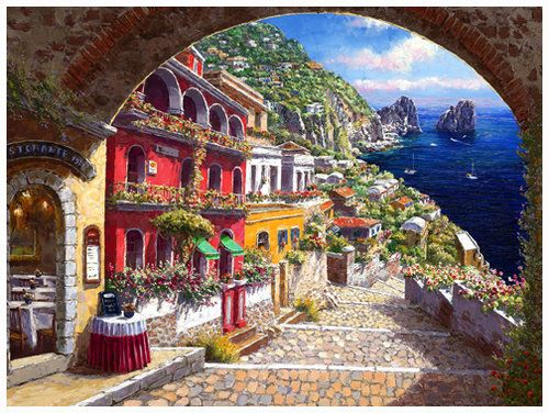SAM PARK - ARCHWAY TO CAPRI. Limited Edition Giclee on canvas.