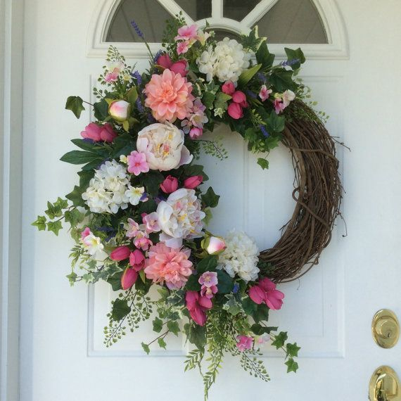 Summer Wreath-Spring Wreath-Hydrangea by ReginasGarden on Etsy