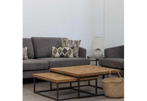 Table basse gigogne carré métal et bois brut 90 X 90 X 40 CM