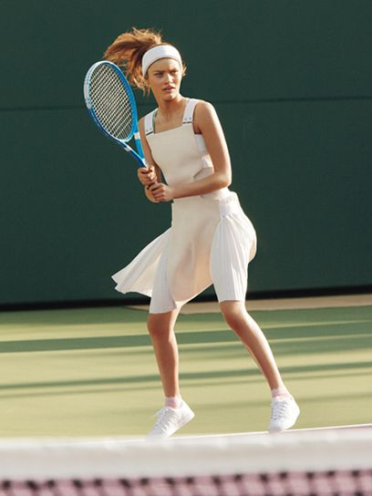 Victoria Beckham dress. Marc Jacobs headband. Nike blue bra, $25. Gap green bra, $20. Falke socks, $29. K-Swiss sneakers, $60. Chanel racquet.  Grand Slam: Tennis-Inspired Fashion For Summer: Feature: teenvogue.com