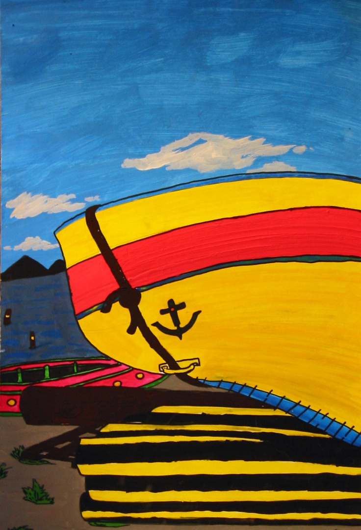 Artwork by an unsigned artist of our Sister City Perpignan, France reflects the bright sun-drenched colors of the city of Perpignan in the Catalan area of France, and the snow-capped glacial terrain of the nearby Pyrennes. The Sister City artwork was displayed at the Hands of Heritage Fest at the Robarts Arena in 2003