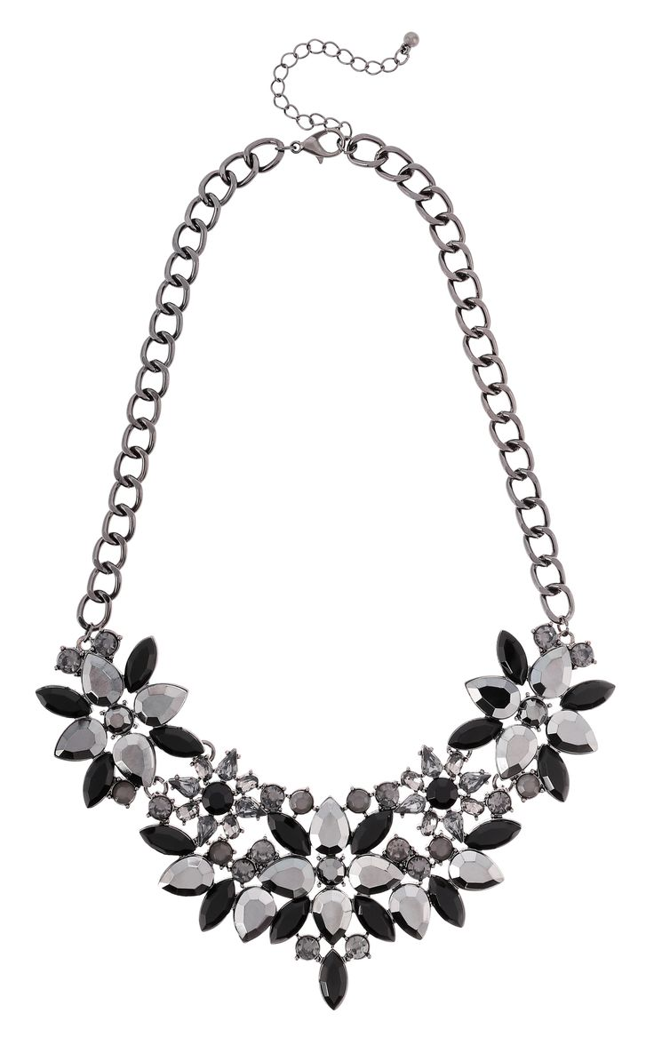 collier anthracite flowers bijou brigitte online shop nl fiestas collares y fiesta. Black Bedroom Furniture Sets. Home Design Ideas