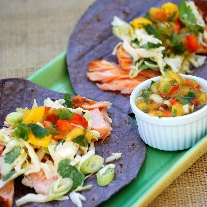 Grilled Salmon Tacos with Lime Slaw and Mango Salsa