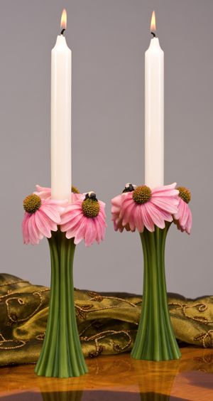 Coneflower & Bee Candlesticks