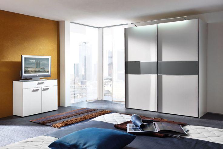 BASIC nd in Weiß Matt und Glas Basalt: Schwebetürenschrank: 2-türig, ca. 200 x 222 x 72 cm, Kommode mit Glasabdeckplatte: 99 x 83 x 42 cm