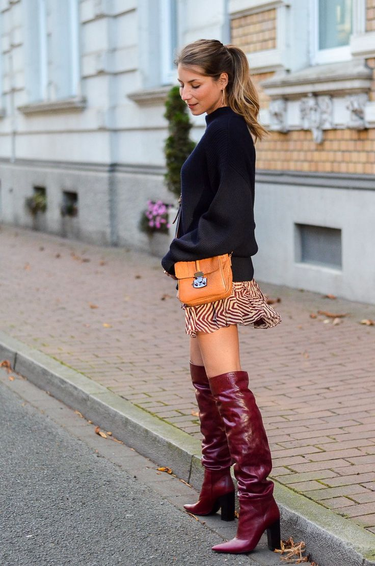 Outfit red zara boots & sweater and Isabel Marant skirt