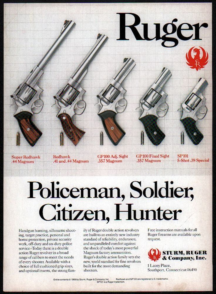 1989 RUGER Super Redhawk, GP100 GP-100, SP101 Revolver AD