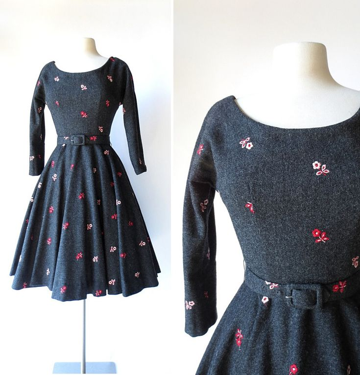 1950s flower embroidered charcoal gray wool dress, by Jerry Gilden.