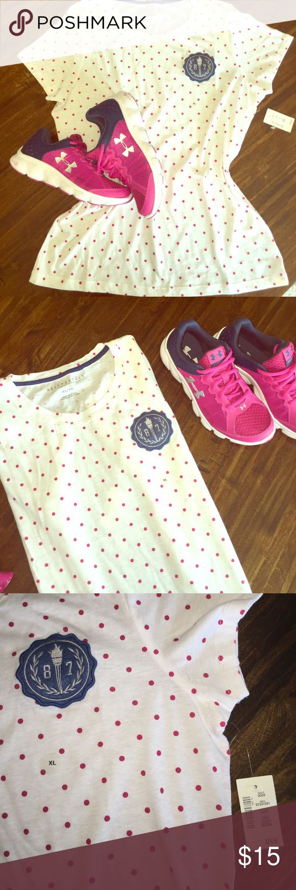 Aéropostale Pink Polka Dot Tee Light weight. Slightly sheer. Would be a great workout tee over a sports bra. Super cute with shorts. Wear oversized with a bathing suit as a comfy cover up. Aeropostale Tops Tees - Short Sleeve