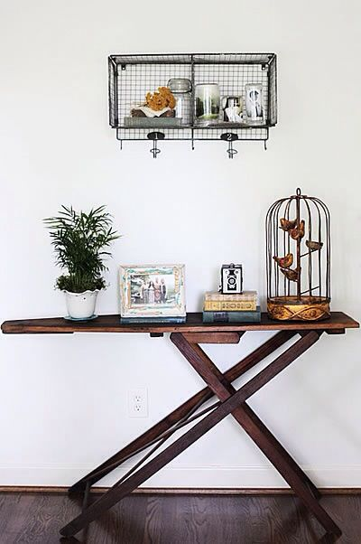 Beautiful ironing board table for the hallway.