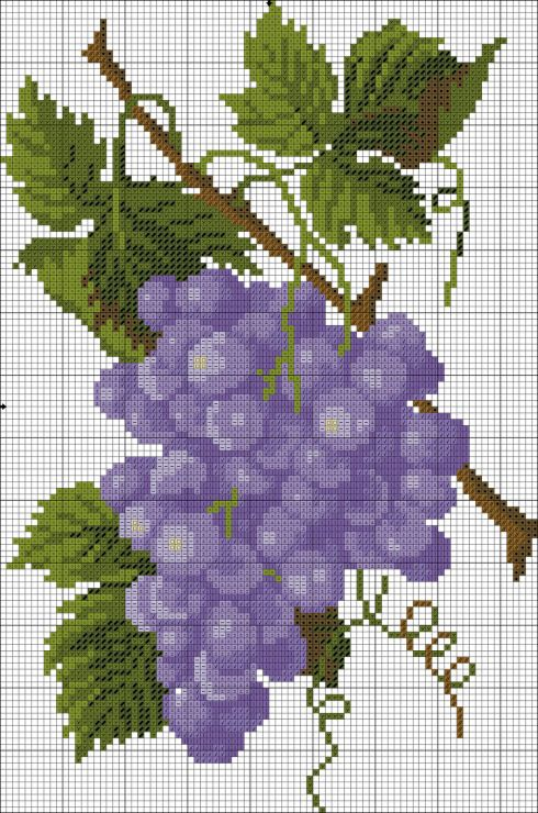 Cross-stitch Grapes... no color chart, just use pattern chart colors as your guide.. or choose your own colors...   Gallery.ru / Фото #2 - 14 - KIM-3