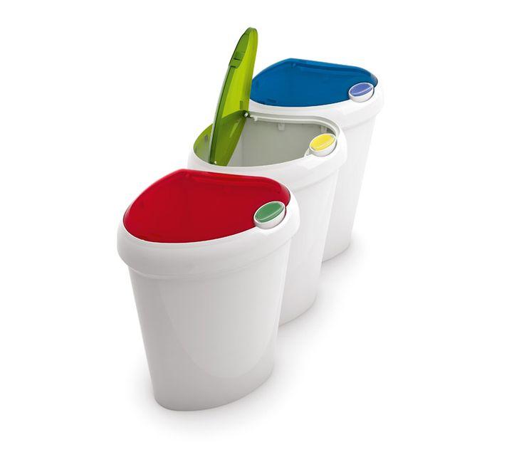 KIS Lotus pattumiera raccolta differenziata 3 bidoni  #madeinitaly #design #recycling #coloured  #bin #raccoltadifferenziata