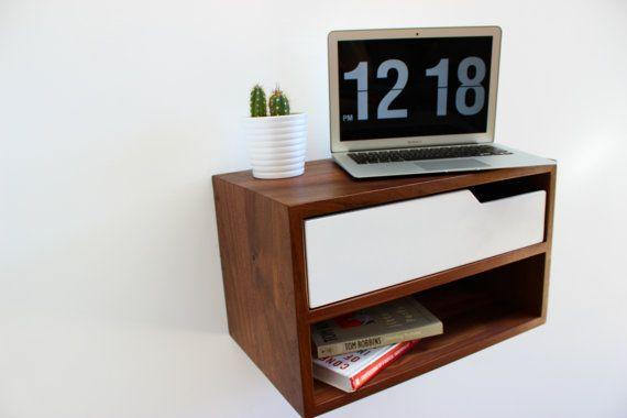 "Floating Nightstand, with Shelf, walnut hardwood 20"" L"
