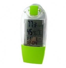 Termo-indicador de humedad - Con panel solar.  Con un panel solar integrado en este termo indicador de humedad, utiliza la energía solar o la luz de ambiente.