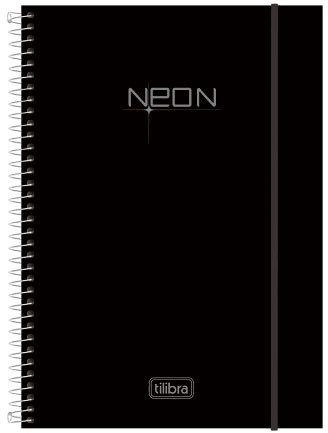 Caderno Universitário Espiral Tilibra 10X1 Neon - 200 Folhas - Preto Estampa Única