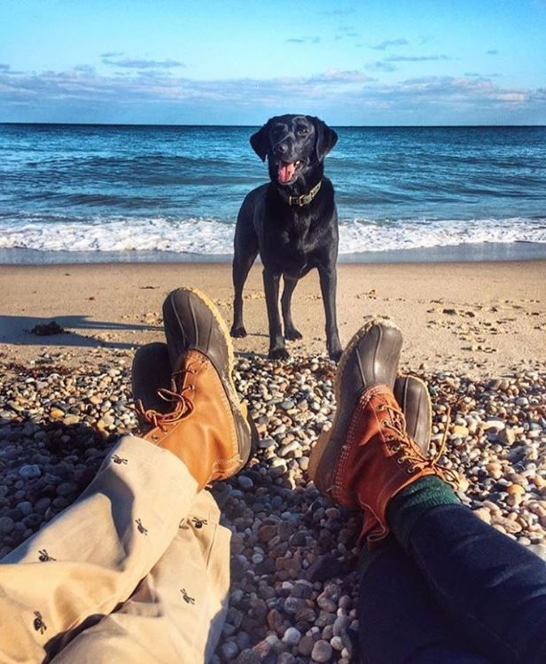 A dog, a beach and L.L.Bean Boots. What could be better than that? (Photo via Instagram: jackiegreaney) Bean Boots
