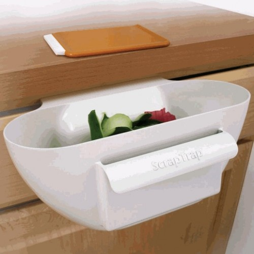 $11.99 Scrap Trap Bin and Scraper - handy for the kitchen.: Idea, Contemporary Kitchens, Scrap Traps, Kitchens Countertops, Traps Bins, Shells Art, Cooking Tips, Kitchens Tools, Kitchens Items