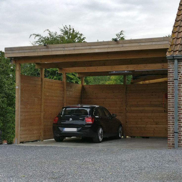 Dubbele houten carport aan huis Double carport en bois