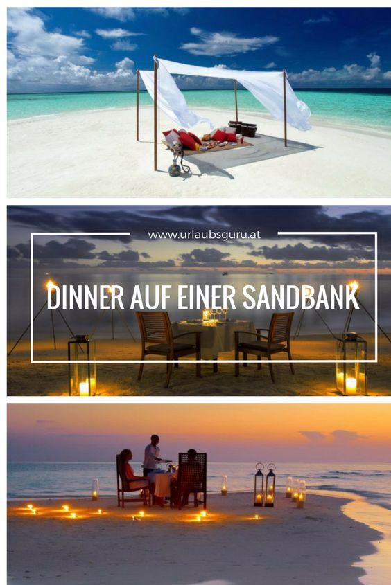 Im Baros Hotel auf den Malediven könnt ihr ein Dinner auf einer Sandbank buchen!