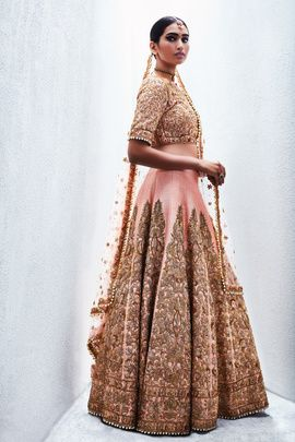 Bridal Lehengas - Peach and Copper Lehenga | WedMeGood | Peach Full Work Blue and Peach Pleated Lehenga with Copper Zardosi Work and Net Dupatta | Design by: Sue Mue #wedmegood #bridal #lehengas #pastel #zardosi