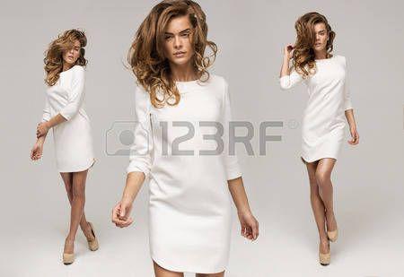 acconciature: Tre sexy donna in abito bianco